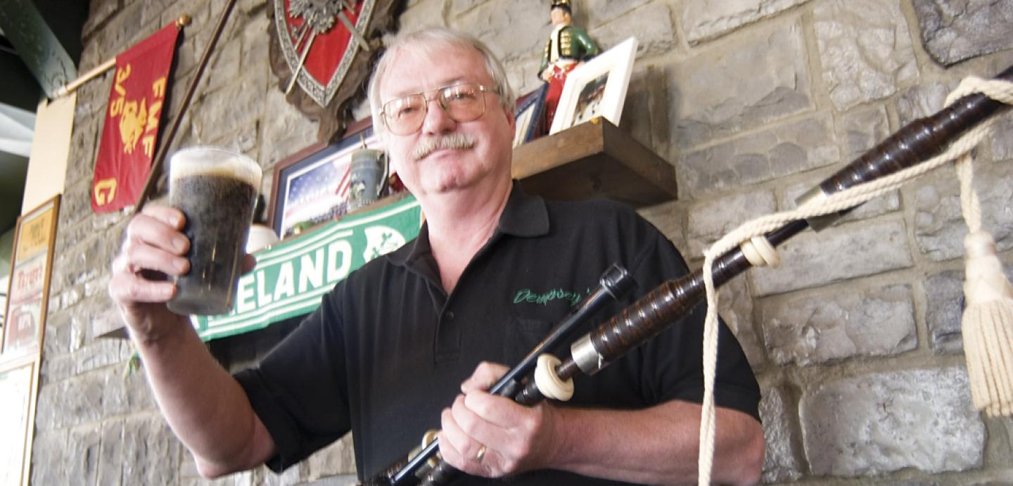 Bill Dempsey brews stouts and lagers (and plays his bagpipes) at Dempsey's Pub in Uptown Watertown.