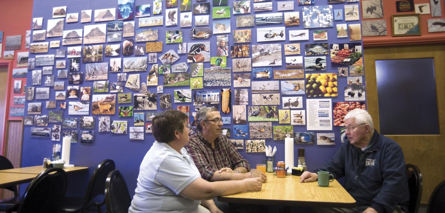 2,500 nature photographs adorn the walls of the Maple Street Diner.